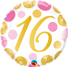 "16 Birthday Pink & Gold Dots Foil Balloon (18"") 1pc"